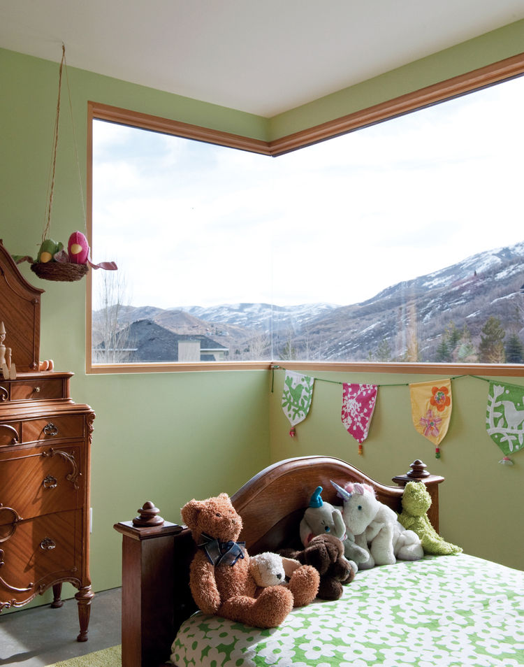 The antique cherry wood furniture in Claire's room once outfitted Mooney's childhood bedroom.