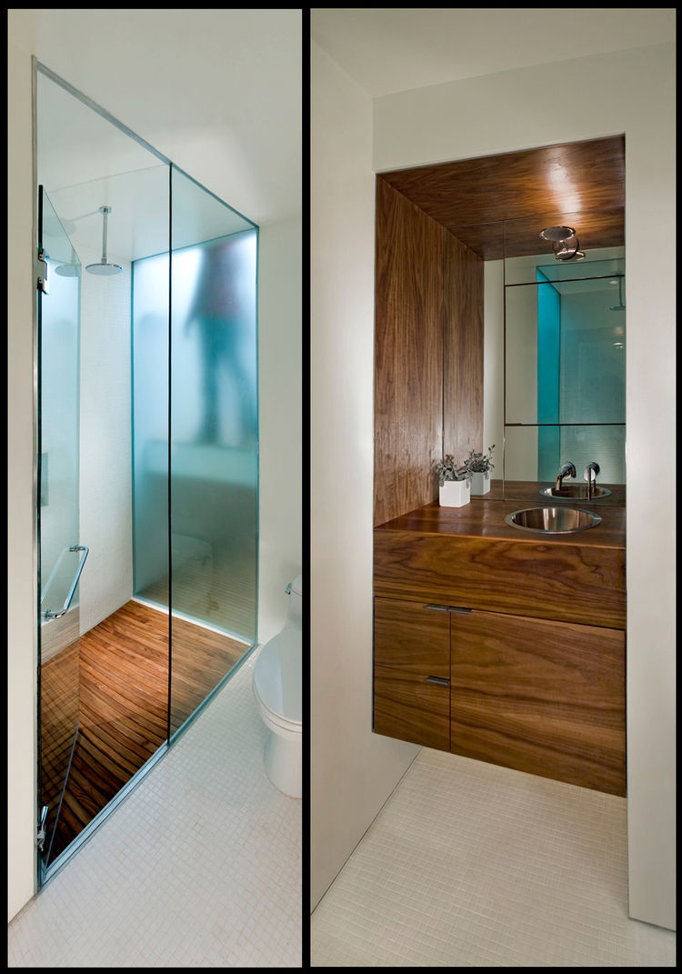Franz and Pare-Mayer's carpenter paid painstaking attention to detail, aligning the wood grains from cabinet door to cabinet door (right). In the shower stall (left), the etched glass wall lets in light from the skylight above the stairwell (and though it