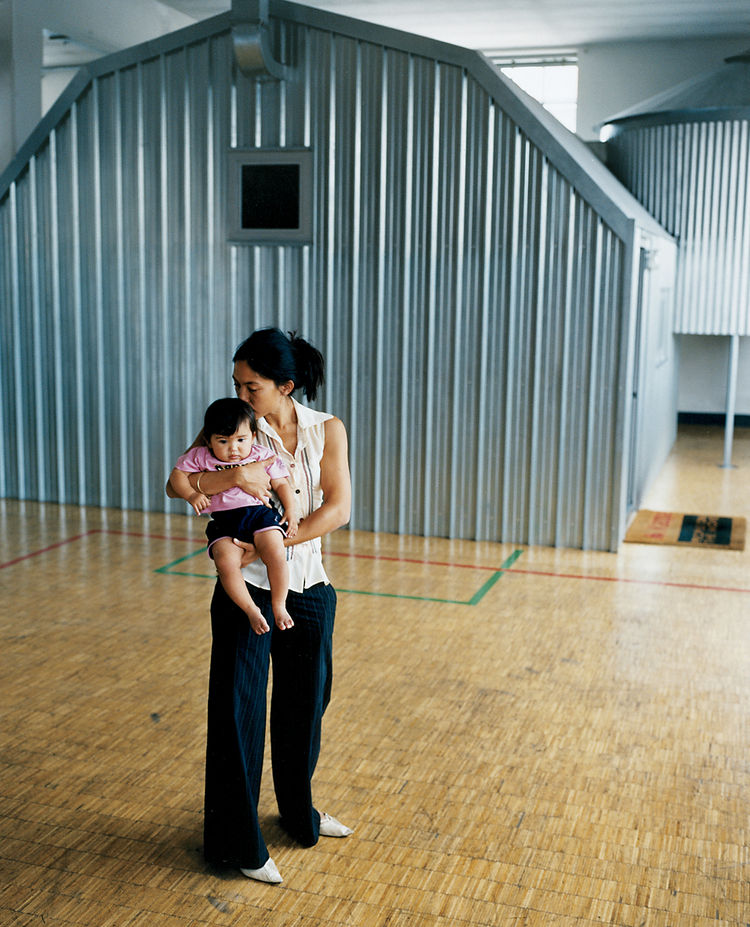 """The shape of the house/bedroom [the background for wife Stella and daughter Maria, seen here] is the shape of American farm buildings,"" Boglione explains."