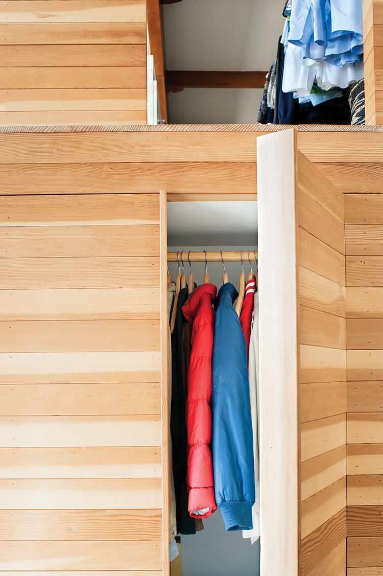 hidden closet in wooden box