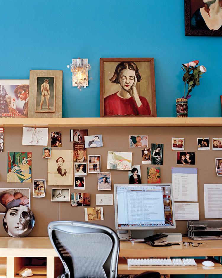 Deborah's office, which shares a wall with Wes's new room, is a repository for assorted claptrap.