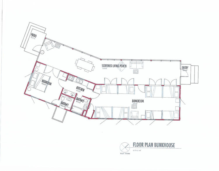 The floor plan exemplifies the thin proportions of the bunkhouse, and its 30-degree turn. The bunkroom measures just over 800 square feet, and the screen porch, around 600. Image courtesy Henry Panton.