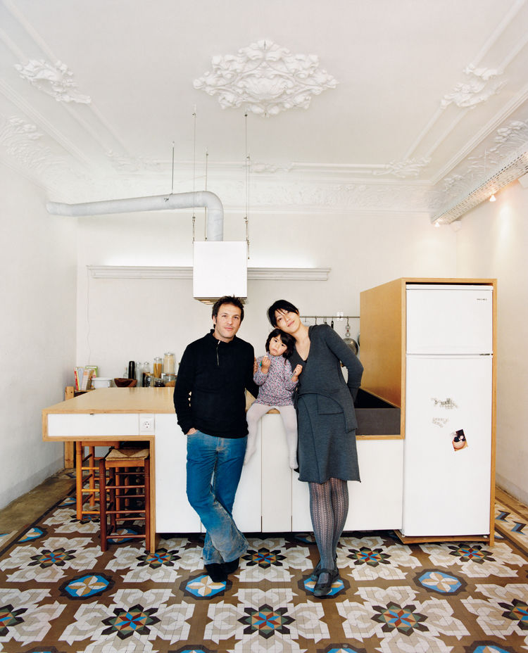 """We really love to cook and much of our home life revolves around our kitchen. When we have friends over it's great to buzz around here; it's almost like a cooking show. We're a very equal couple. We wanted the kitchen island to be a single form that we c"
