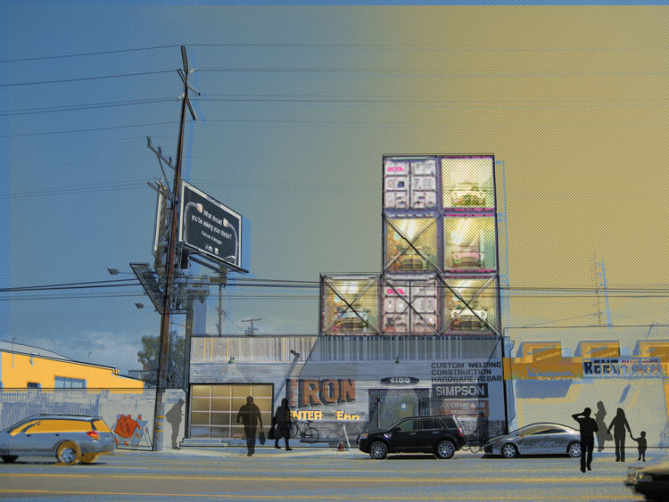 "In this unbuilt design for a friend's ironworks shop in Venice, California, Jantzen envisioned seven triple-stacked containers to house the owner's collection of homemade racecars. ""The containers can be a very playful architectural element,"" says Jantzen"