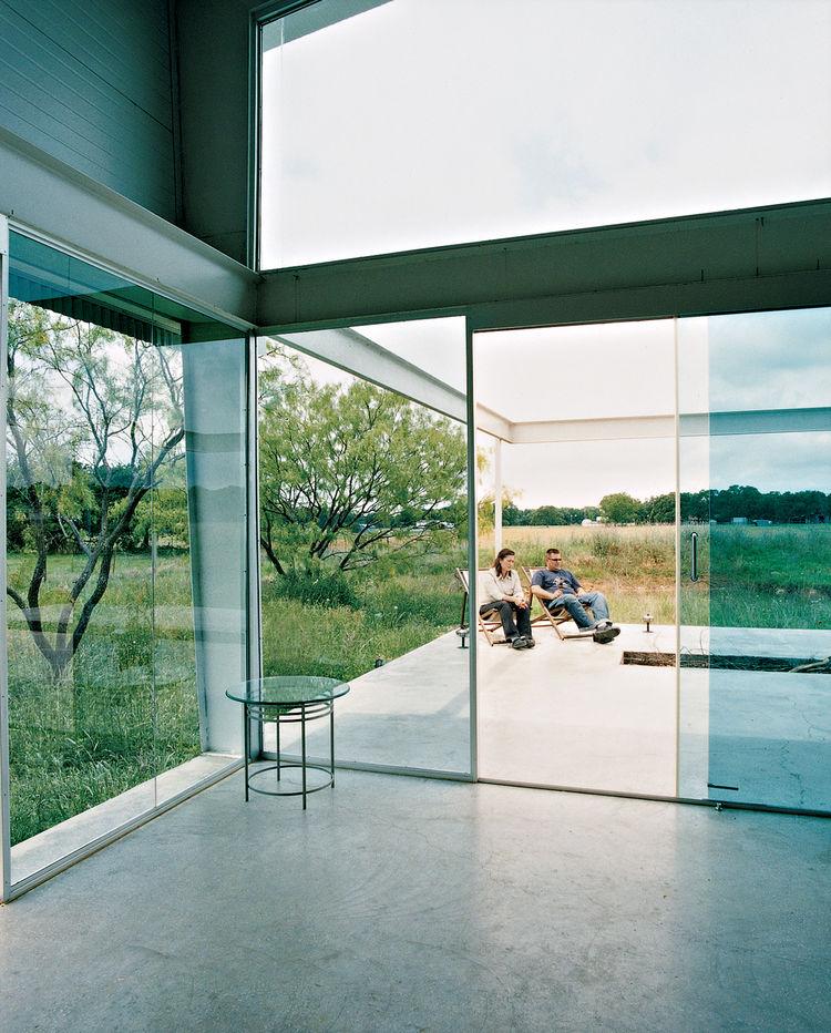 Dallas live work studio patio through glass doors