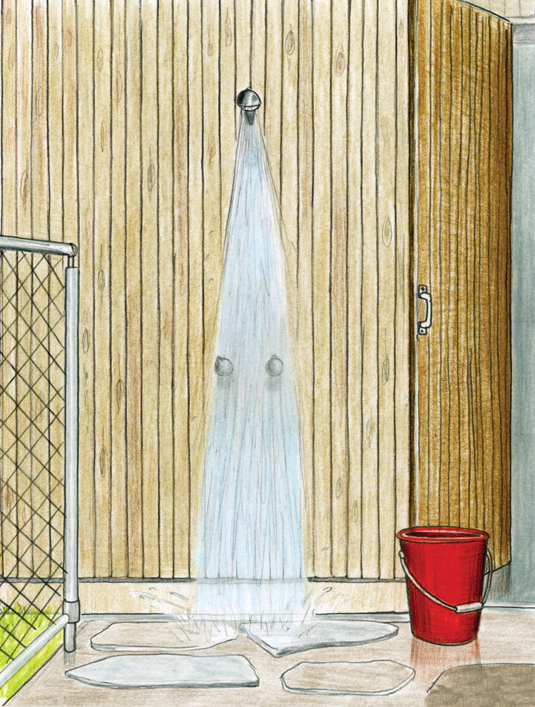 The outdoor shower greets everyone returning from the beach. Ferguson, well versed in the behavior of teenagers, didn't want them running inside with sandy feet, so a stop under the fresh rainwater shower from Enware is mandatory after a morning in the su