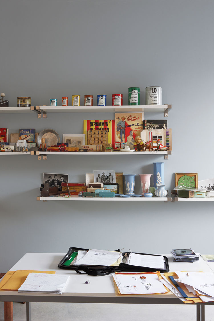 In the upstairs studio Adams draws inspiration from collections of salesmen's sample cans, Canadian early-20th-century ceramics, and Electrolux vacuum-cleaner piggy banks.