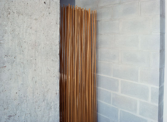 A room divider by Extremis, made of sticks protruding from a rubber base, shields the bathroom.