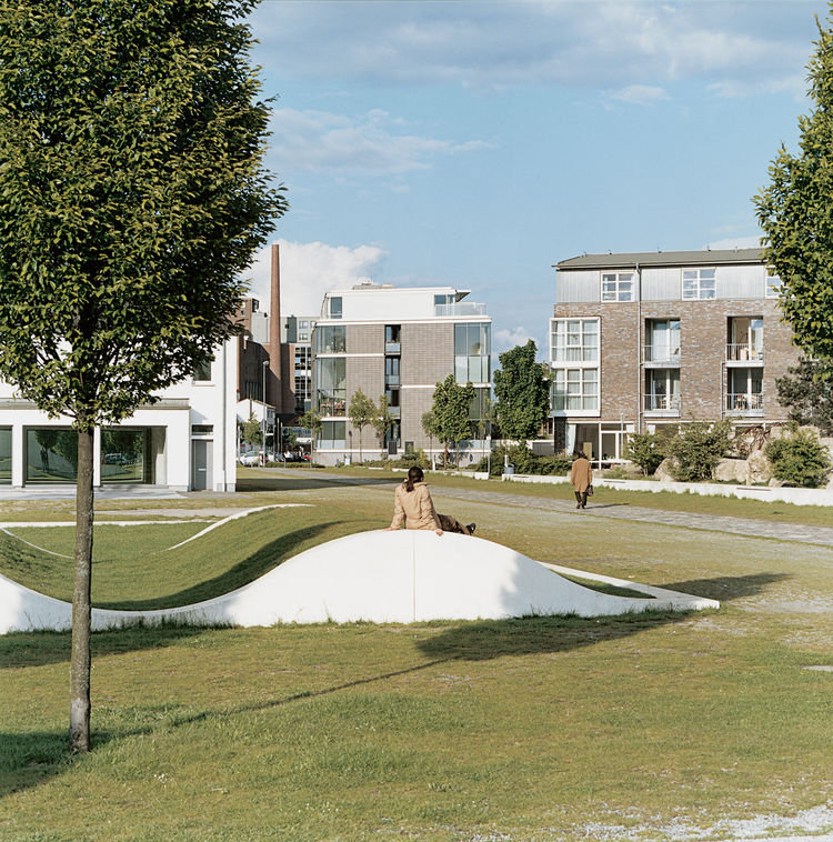 """Artist Dani Karavan's Garden of Remembrance uses the form of waves, and the debris of demolished buildings, to evoke Duisburg's harbor history. """"We avoided breaking with the past, and instead chose to create an environment that would resonate strongly wit"""