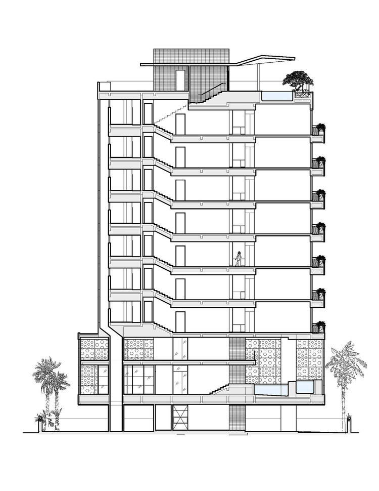 "<p>The side elevation of the building shows the seven 2,500-square-foot apartments, including the owner's two-level penthouse apartment, stacked above the common area downstairs. Image courtesy <a href=""http://khanna-schultz.com/"">Khanna Schultz</a>."