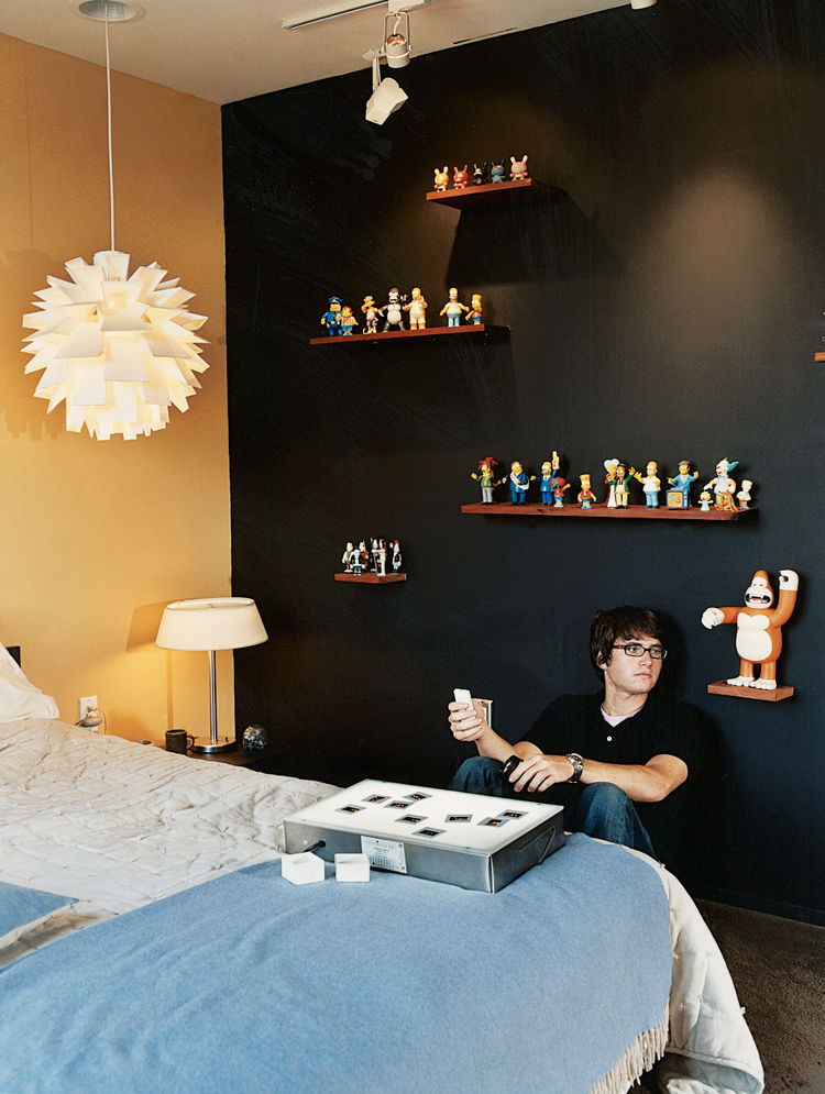 Upstairs, the clutter-free bedrooms of Segal's teenagers reflect their father's less-is-more ethos.