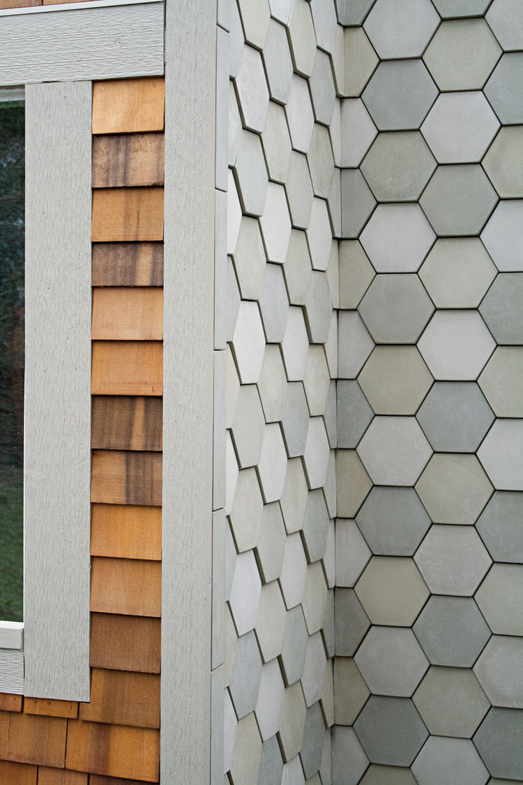 Shingled Hex Tile by Portland Cement Company made in Portland, Oregon.