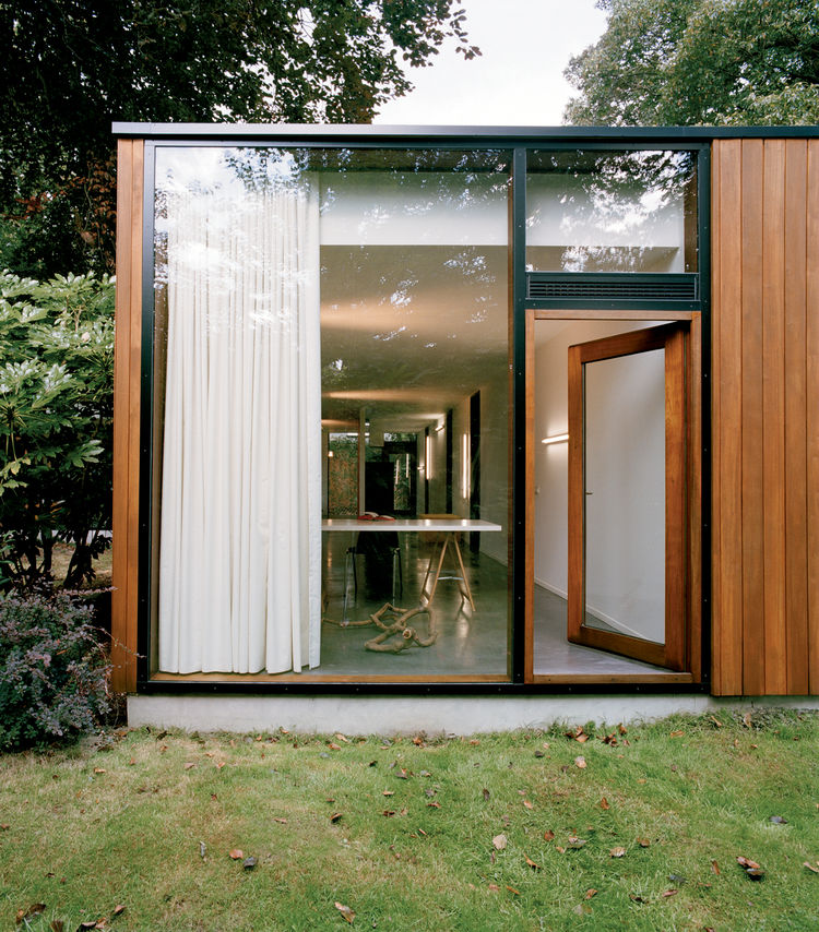 The exterior is clad in louro gamela,a tropical hardwood.