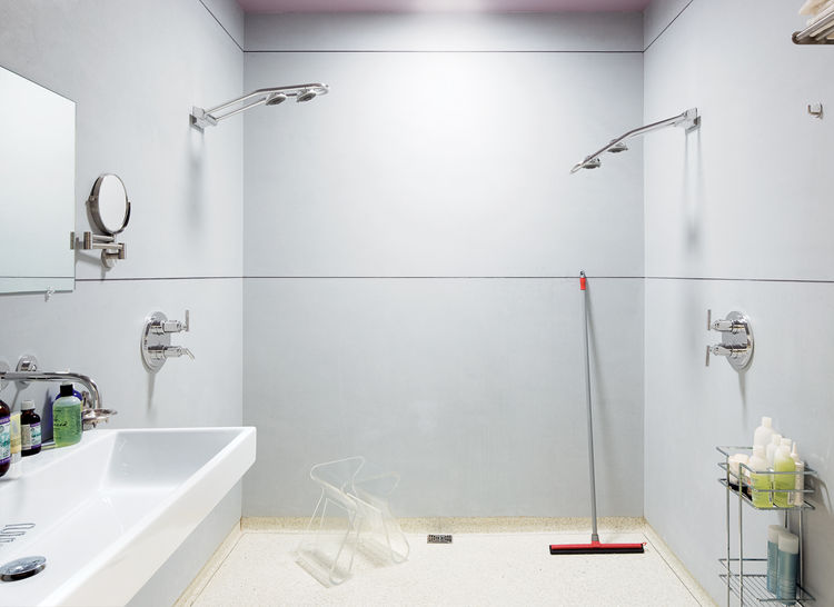 The huge master bathroom includes a fully accessible walk-in shower.