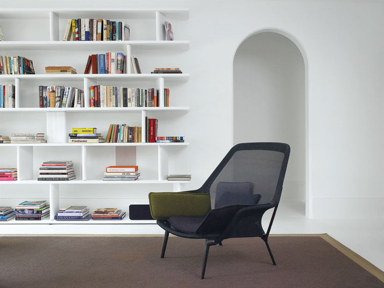 Library room with George Sacaris powder-coated steel bookcase