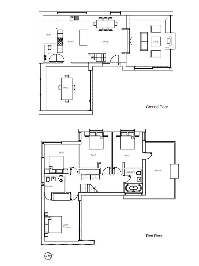 Floor plan of a modern home in England