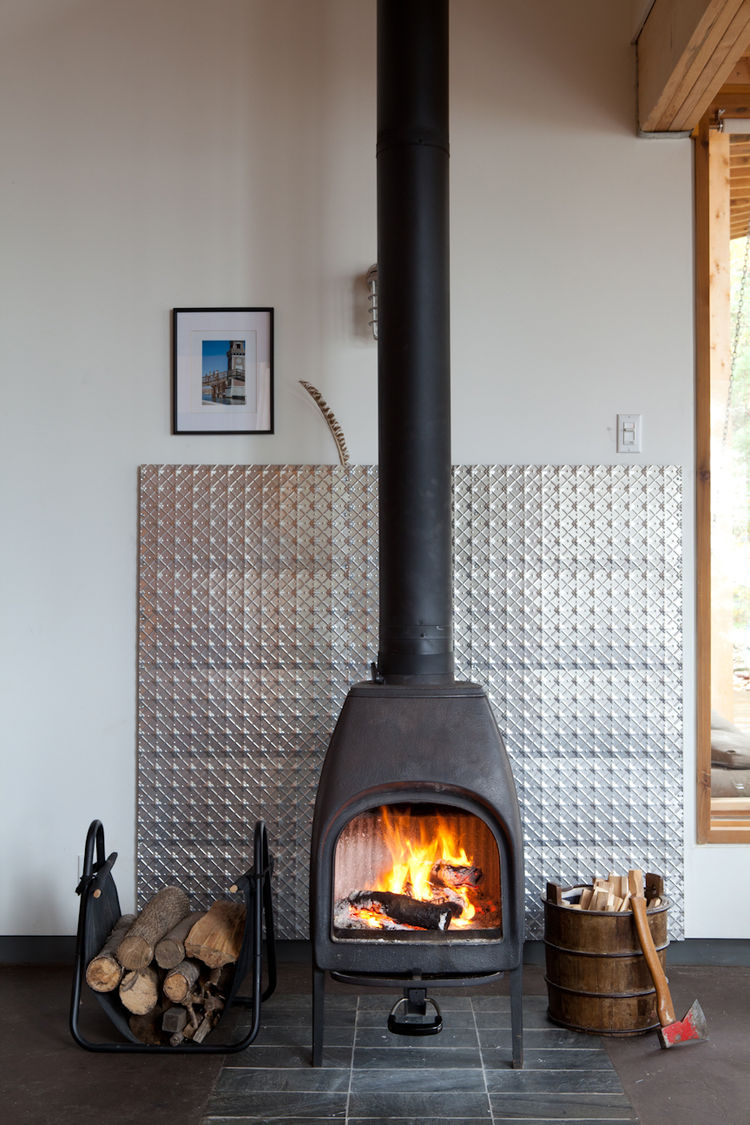 Indoors old-fashioned metal fire stove