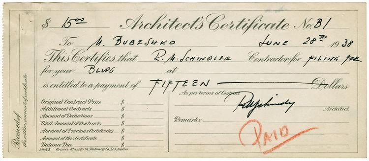 Bubeshko Apartments archival document
