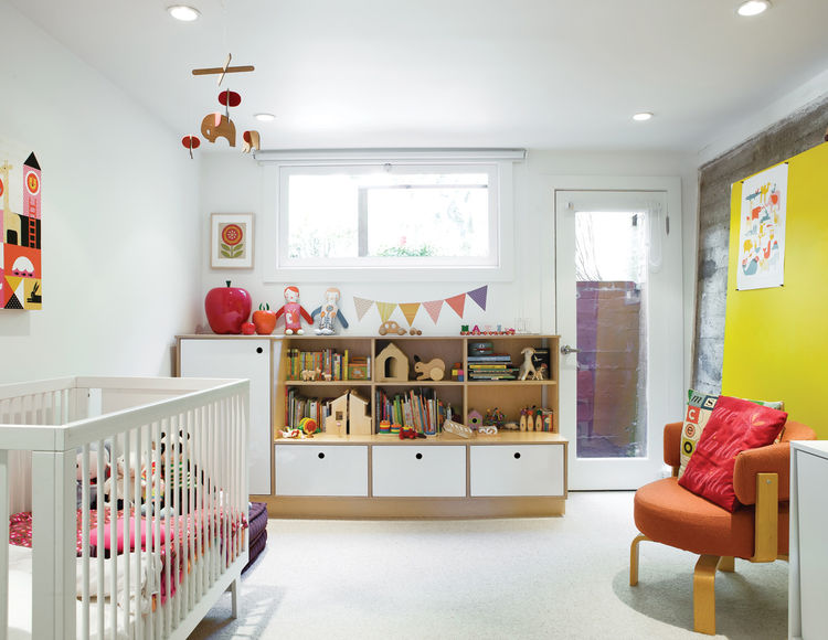 Modern children's room with custom cabinets