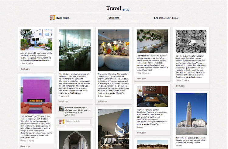 Travel Dwell Pinterest board