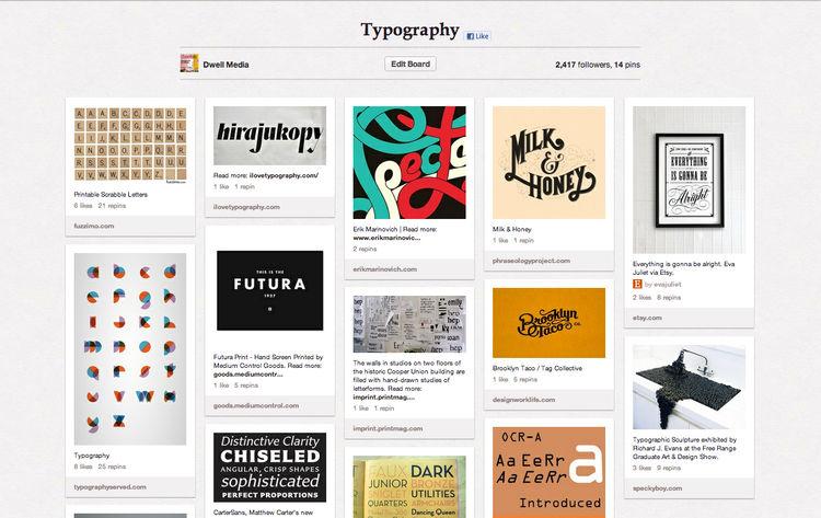 Typography Dwell Pinterest board