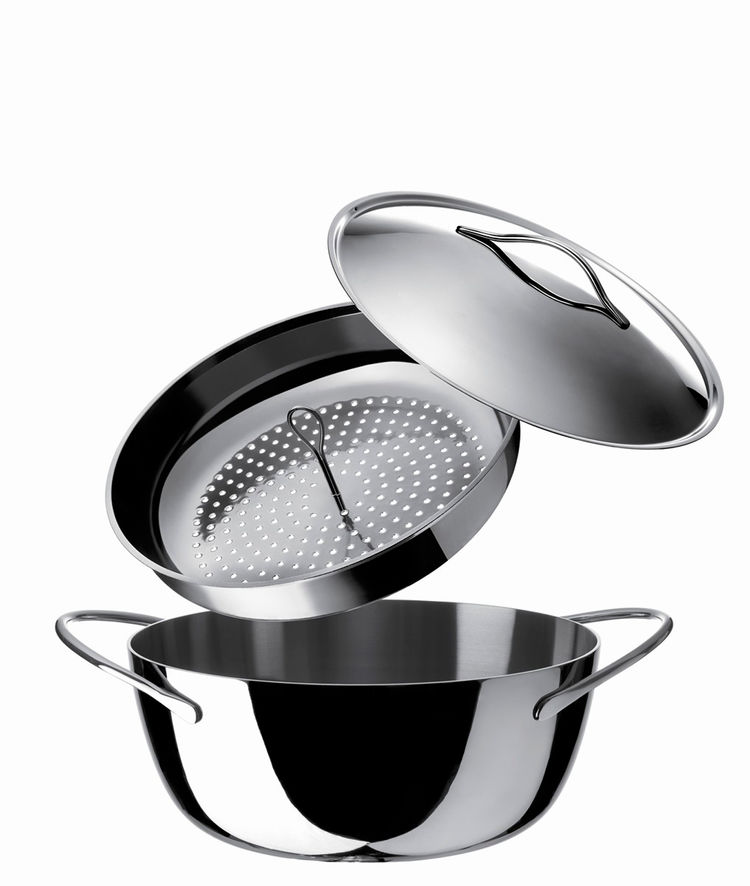 Stainless steel Domenica cookware from Alessi
