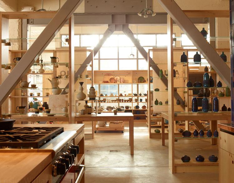 Heath Ceramics San Francisco showroom display shelves