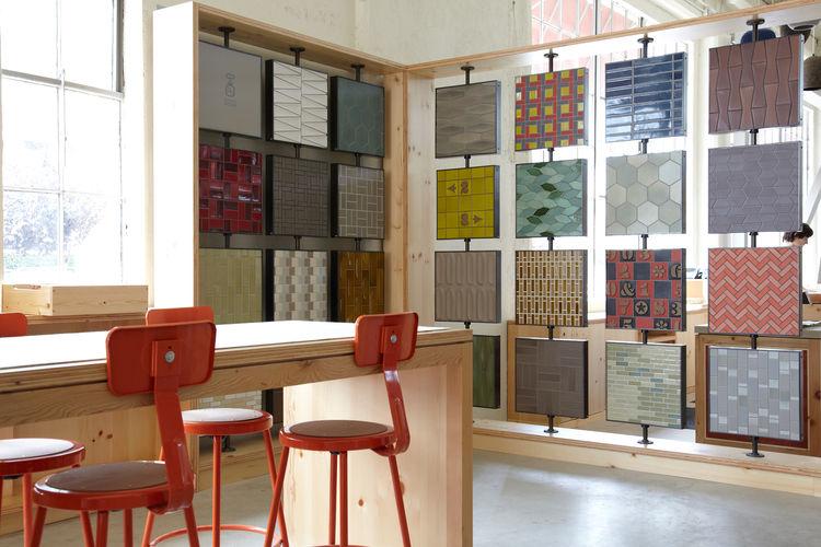 Ceramic tile wall at the Heath Ceramics showroom