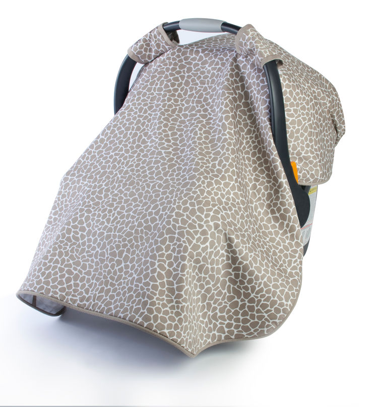 Car seat canopy in taupe.