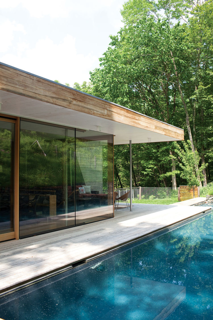 Modern outdoor pool area