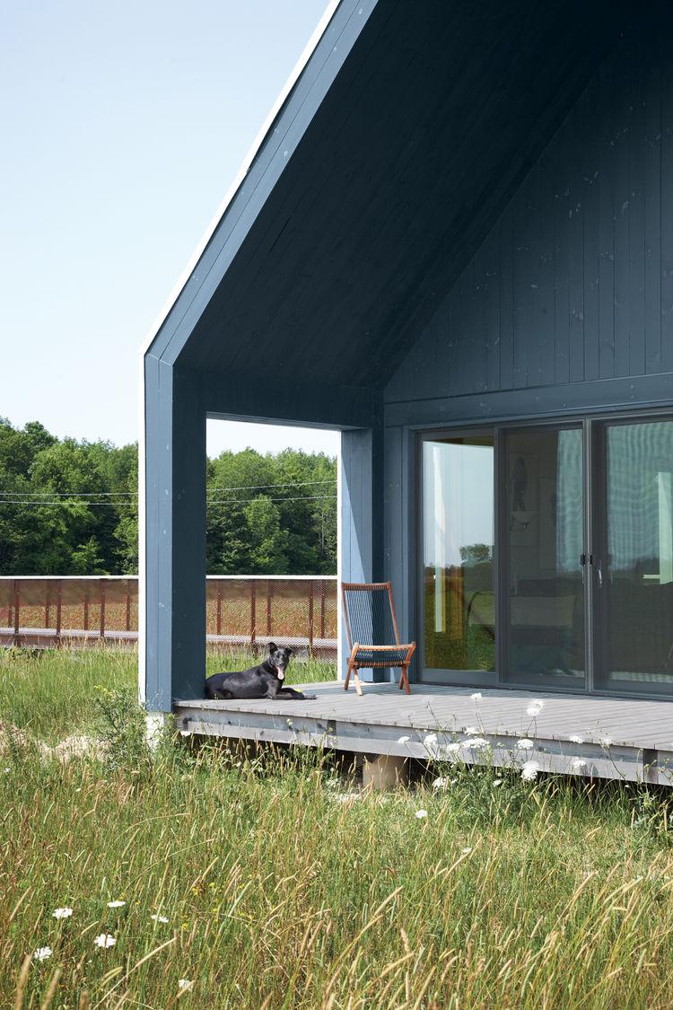 Modern porch with triple-glazed casement windows