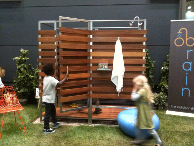 Outdoor wood-and-metal shower at Dwell on Design 2012