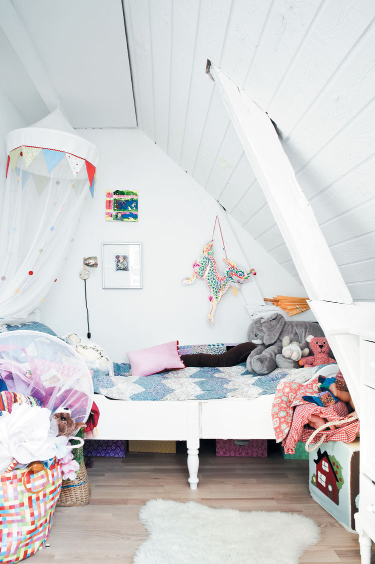 Colorful children's room in attic