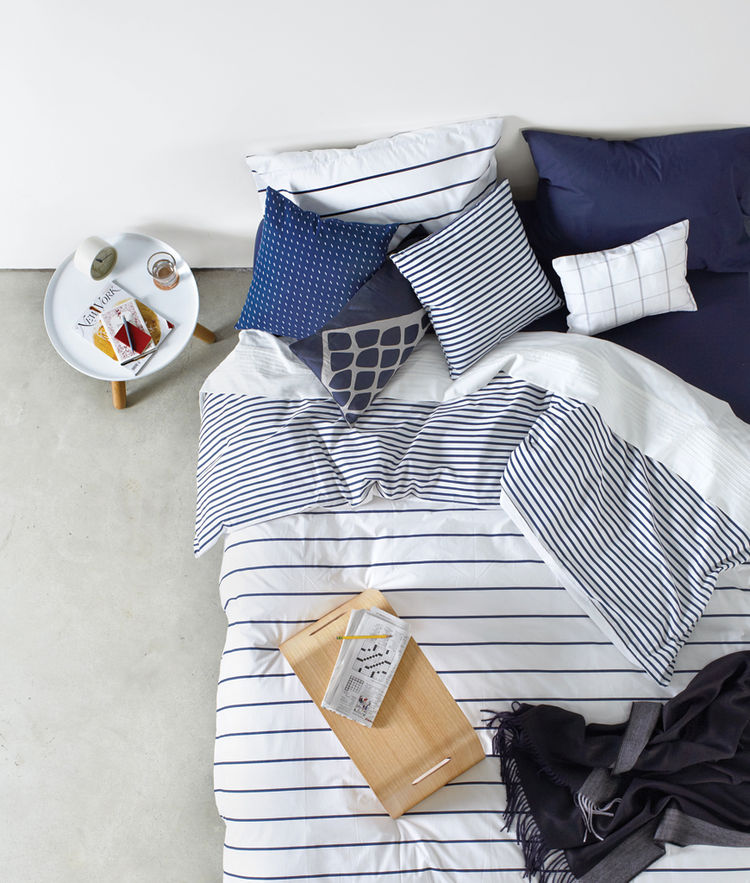 modern bedding in navy and white