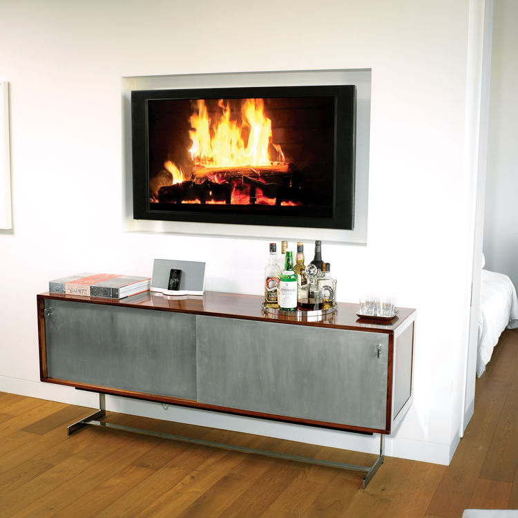 Modern wall fireplace with vintage metal-and-wood console