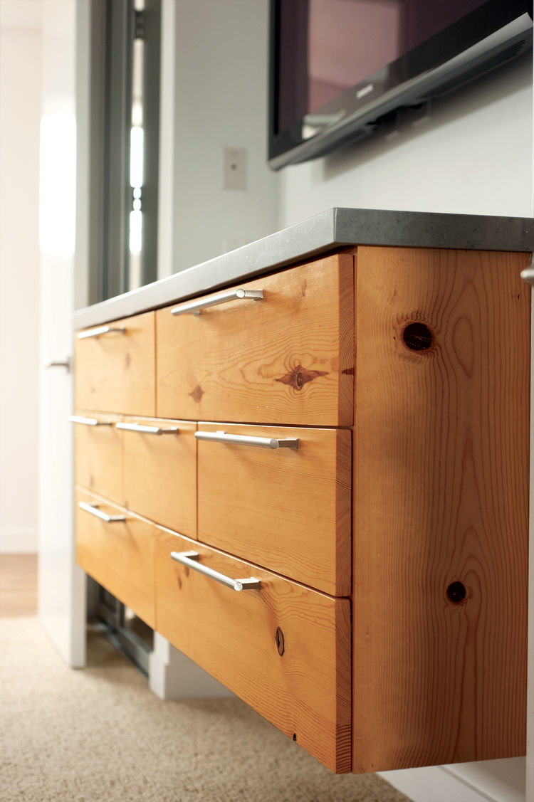 Modern custom-made knotty pine cabinet