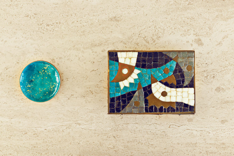 Colorful tiled ceramic and speckle decorations