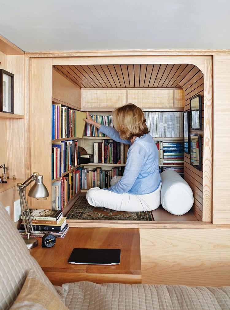 Modern Nakashima-inspired wooden bookshelf cabinet