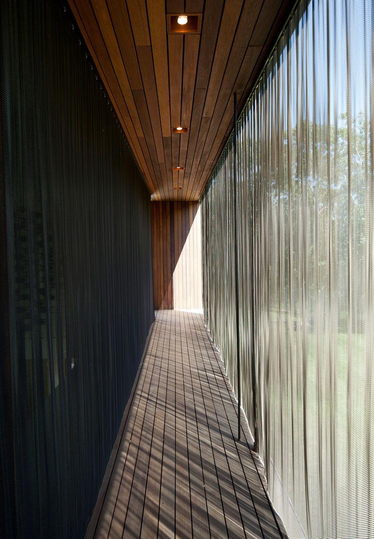 Narrow glass window hallway