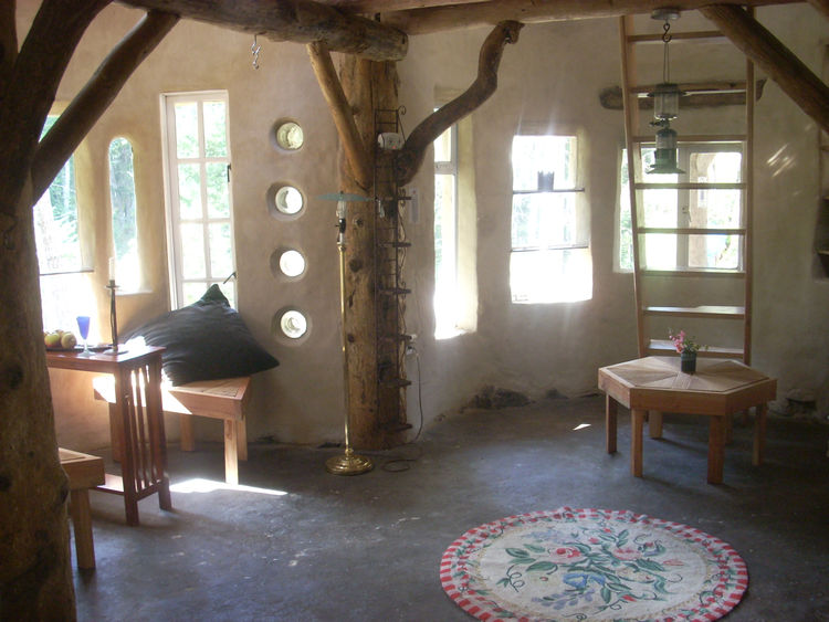 Interior of cob house by Mud Girls