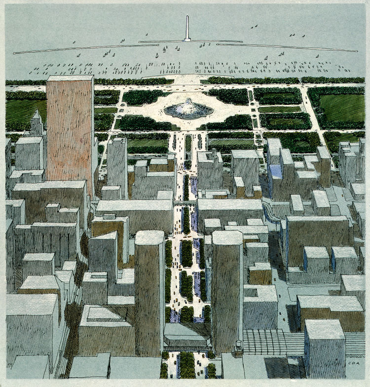 Chicago Masterplan rendering by Carlos Diniz