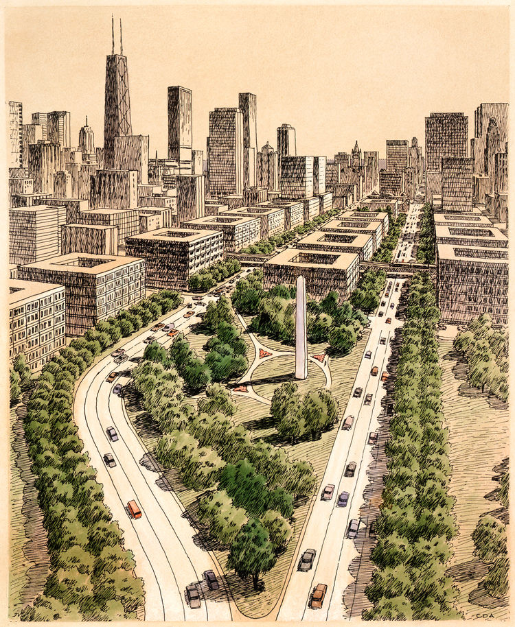 1983 Chicago Masterplan rendering by Carlos Diniz