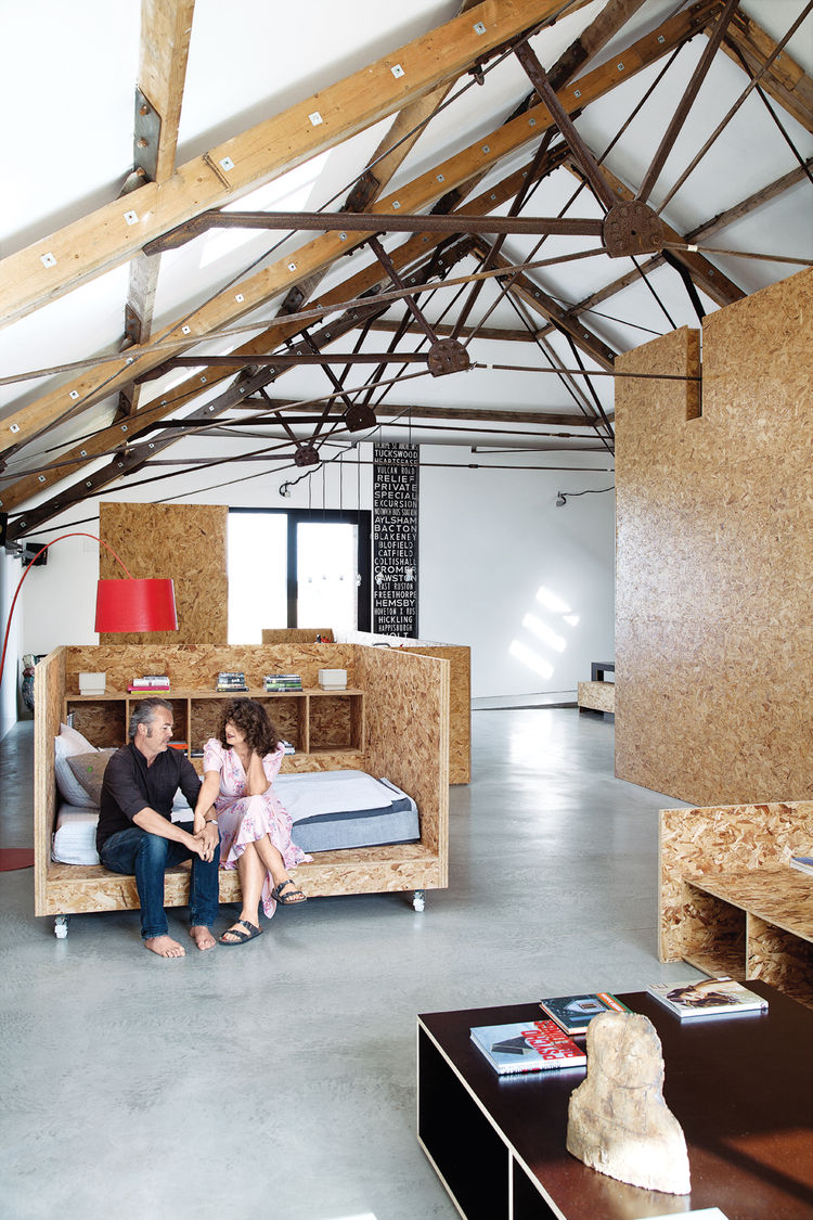 Farm house room with OSB bed and table