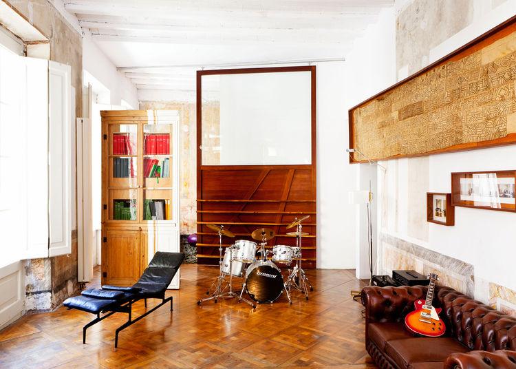 Living room with giant wooden sliding door
