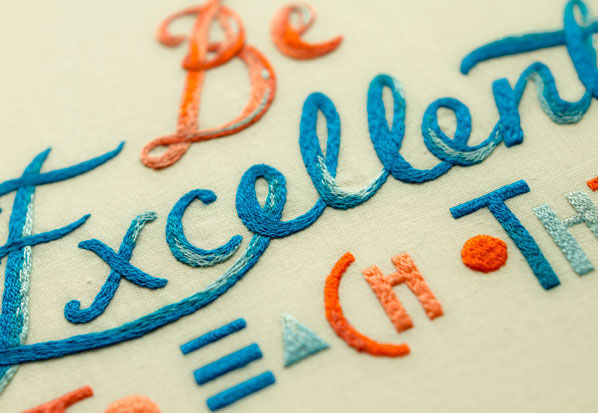 Be Excellent Textile Embroidery Design by MaricorMaricar