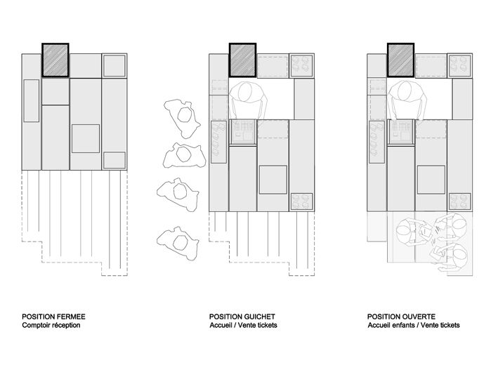 Expandable Kiosk furniture by h2o Architectes