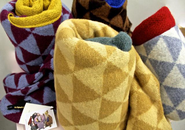 Colorful Icelandic wool blankets