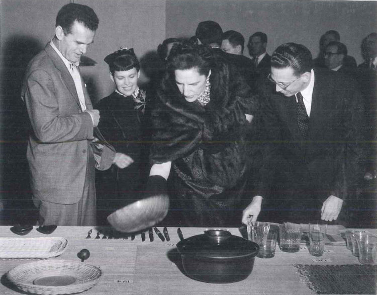 Charles, Ray, Dorothy Shaver, and Edgar Kaufmann Jr. at the Good Design exhibition in MoMA, New York.
