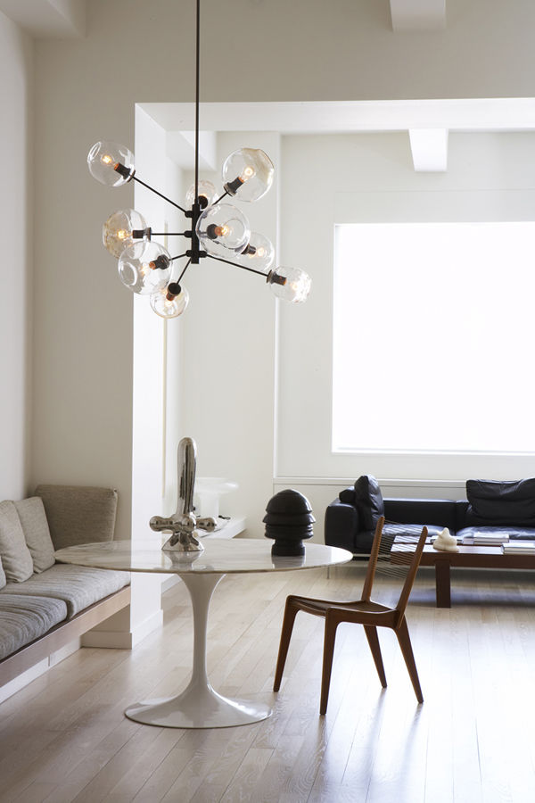 Interior with Bubble Chandelier by Lindsey Adelman