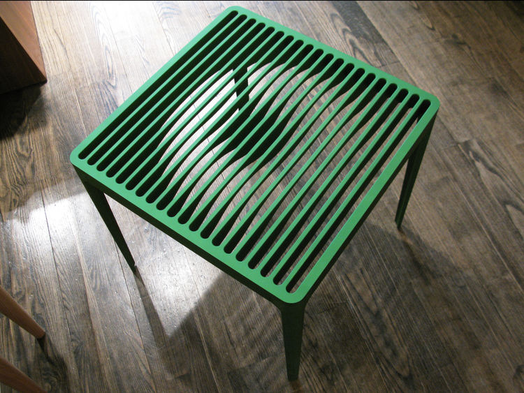 Green Turntable Slatted Table